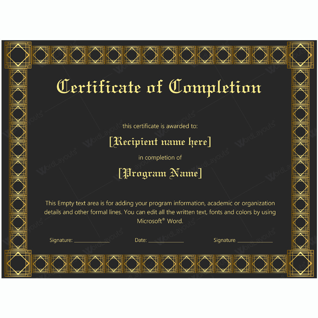 Thank You Certificate Word Template Beautiful Certificate Of Pletion 22 Word Layouts