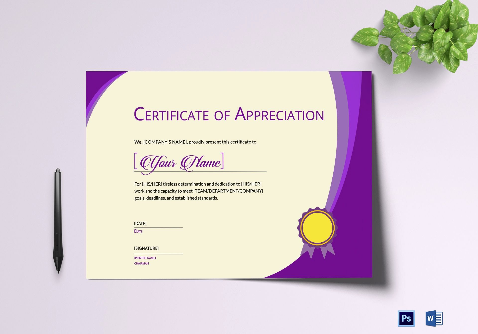 Thank You Certificate Word Template Beautiful Expression Of Thank You Certificate Design Template In Psd