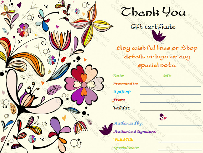 Thank You Certificate Word Template Beautiful Special Thank You Gift Certificate Template