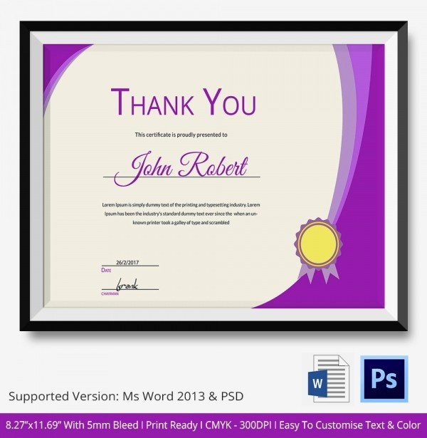 Thank You Certificate Word Template Fresh Certificate Thanks Certificate Of Appreciation Psd