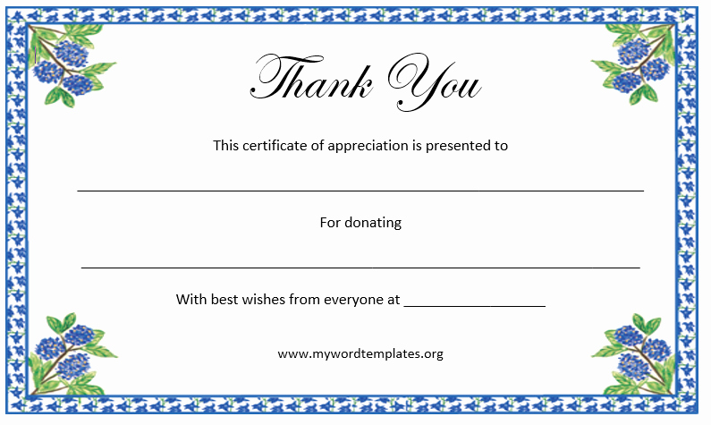 Thank You Certificate Word Template Fresh Thank You Certificate Template Microsoft Word Templates