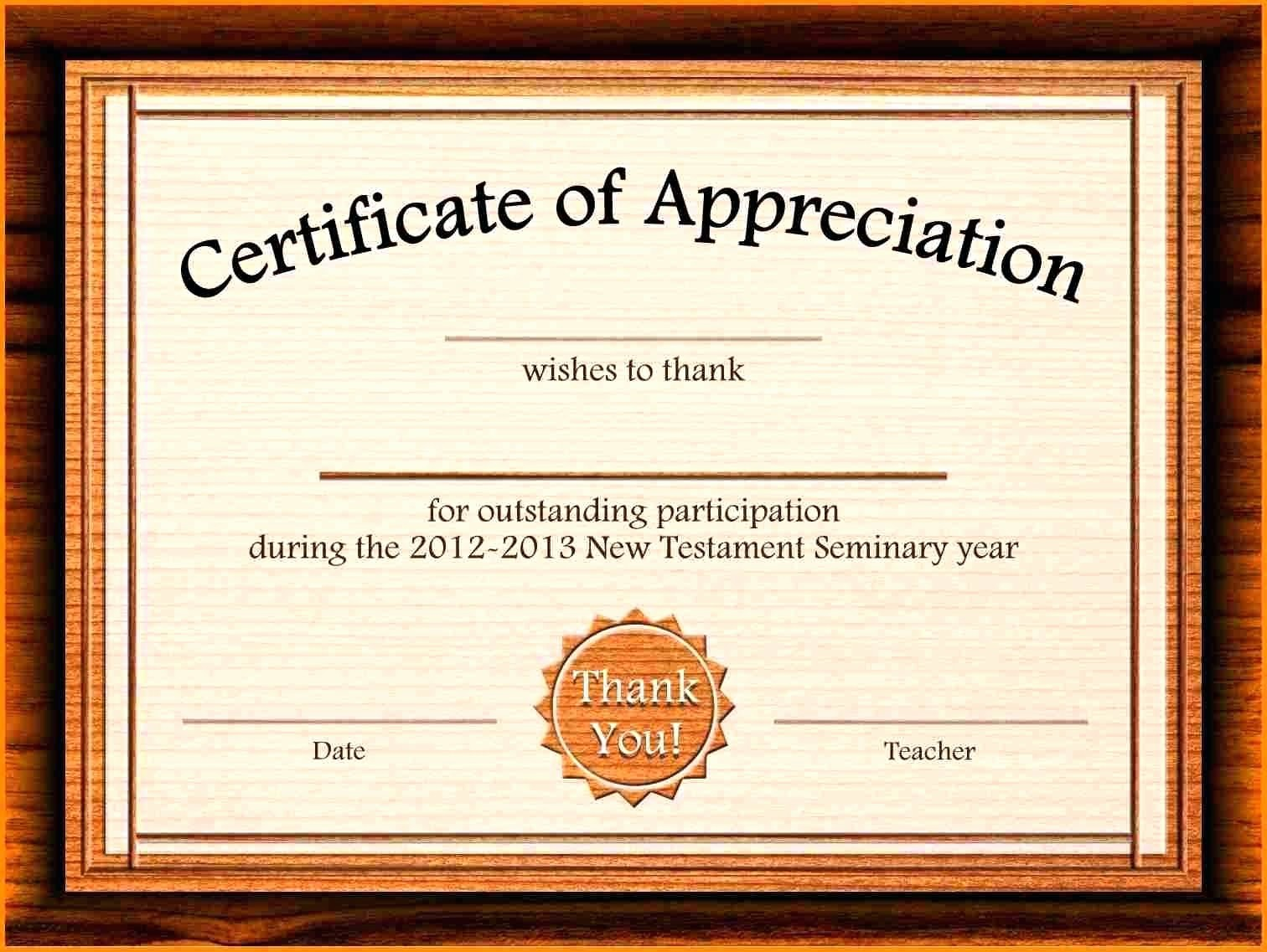 Thank You Certificate Word Template Inspirational Template Thank You Certificate Template for Word