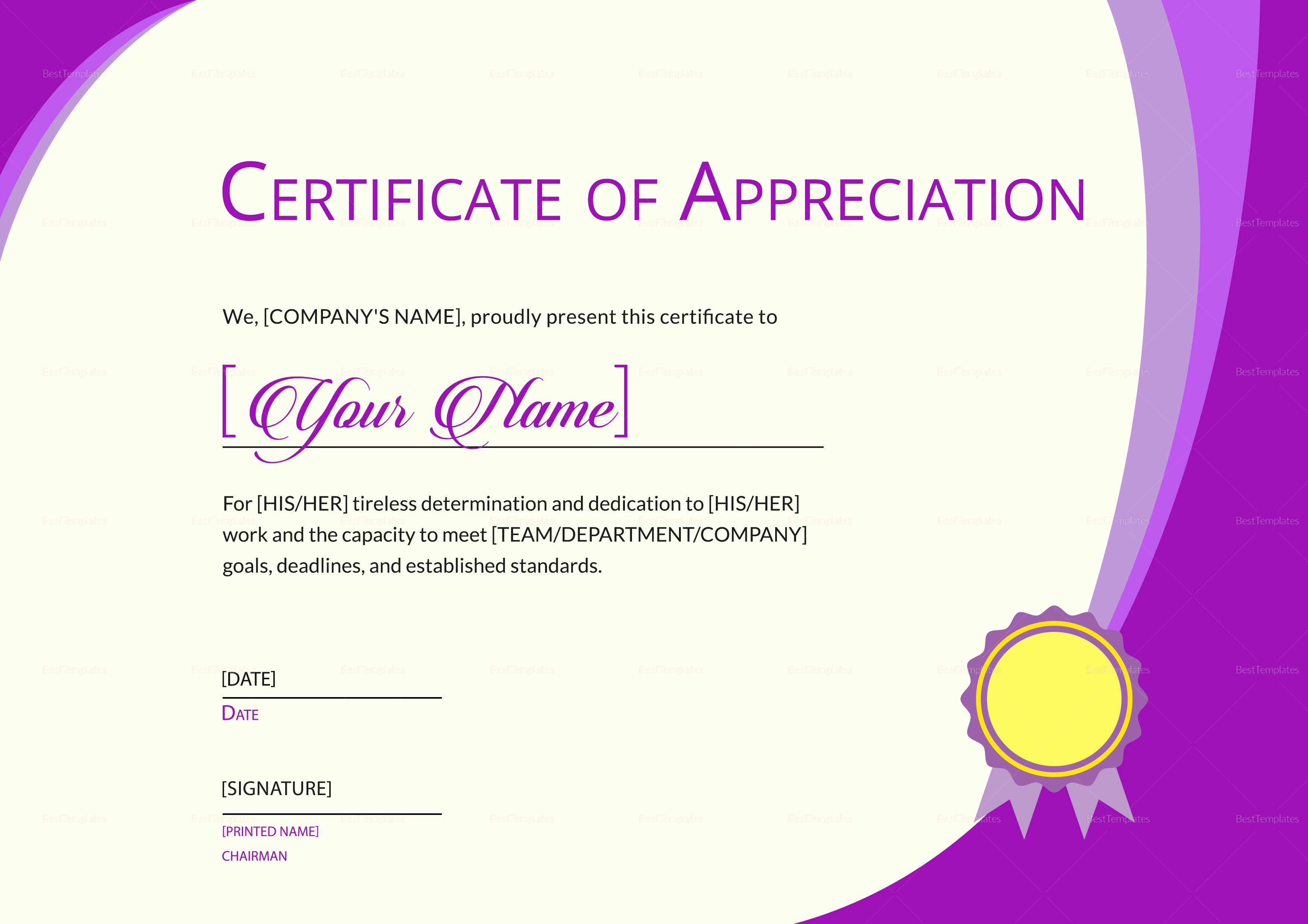 Thank You Certificate Word Template Lovely Expression Of Thank You Certificate Design Template In Psd