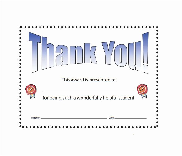 Thank You Certificate Word Template Luxury 11 Thank You Certificate Templates
