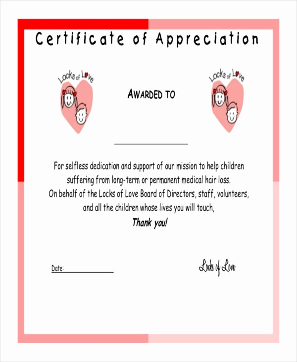 Thank You Certificate Word Template Luxury Certificate Of Appreciation Template 25 Free Word Pdf
