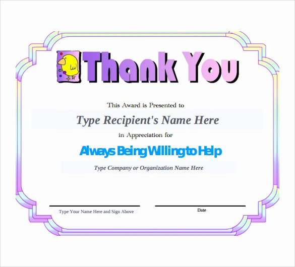 Thank You Certificate Word Template Luxury Sample Thank You Certificate Template 10 Documents