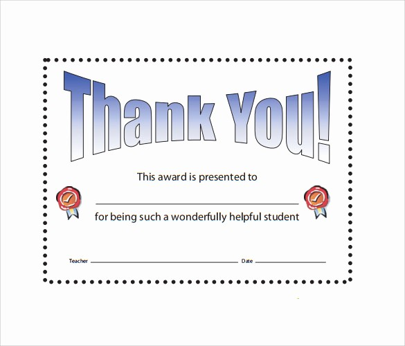 Thank You Certificate Word Template New Sample Thank You Certificate Template 10 Documents