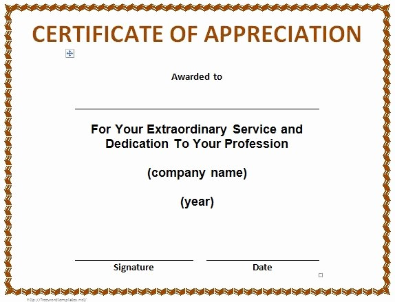 Thank You Certificate Word Template Unique 30 Free Certificate Of Appreciation Templates and Letters