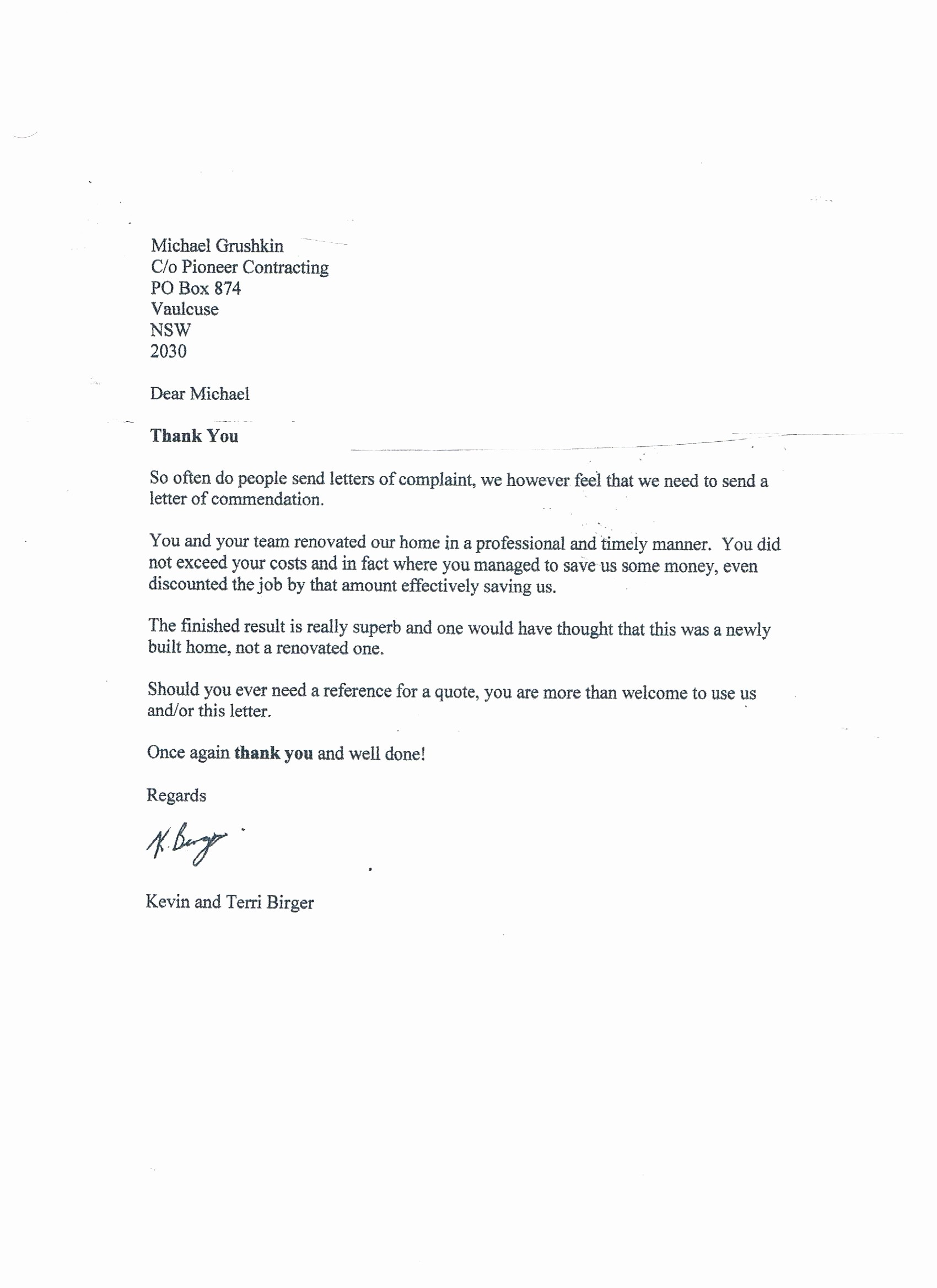 Thank You Letter for Reference Inspirational Pioneer Contracting