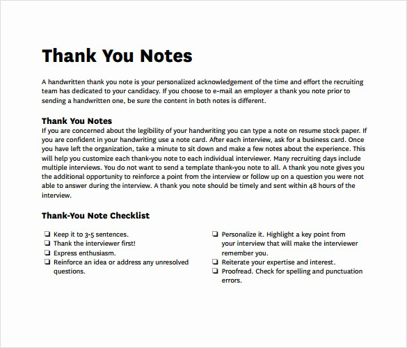 Thank You Note Card Template Awesome Sample Professional Thank You Notes 8 Documents In Pdf