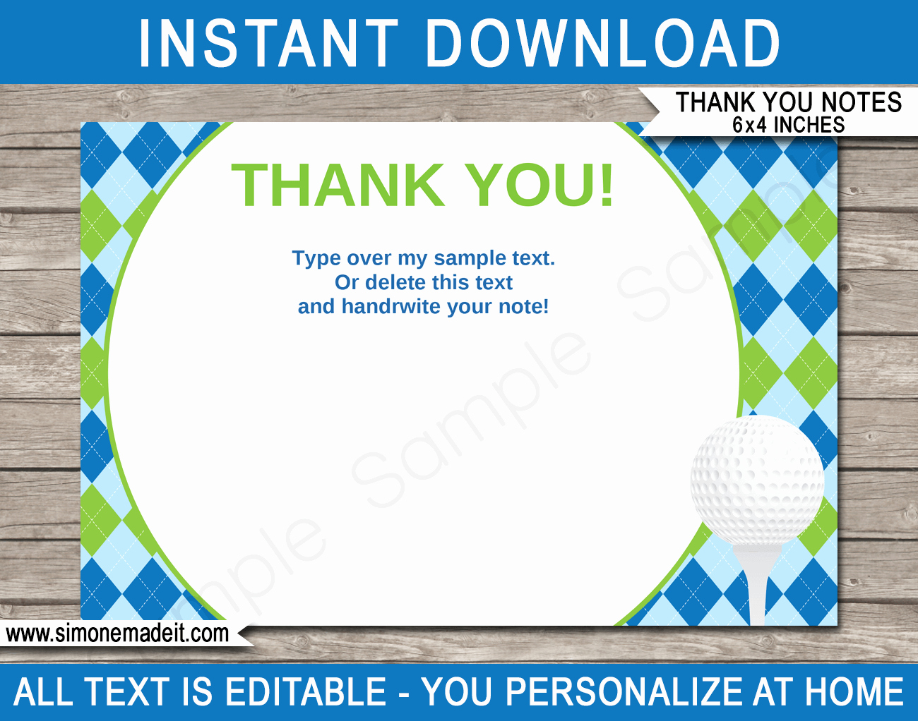 Thank You Note Card Template Fresh Printable Golf Party Thank You Note Cards