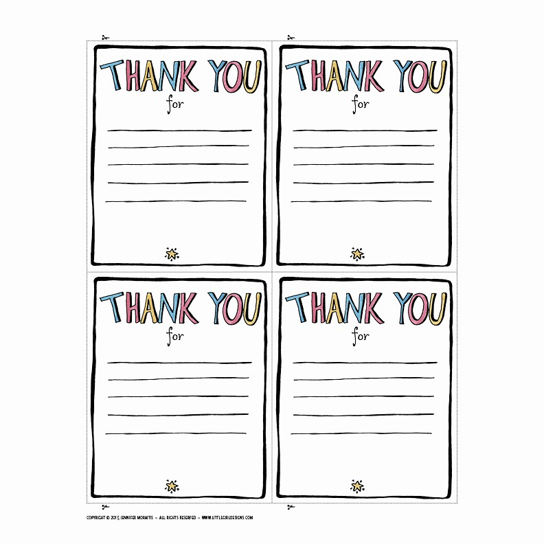 Thank You Note Card Template Lovely Thank You Printable Jennie Moraitis