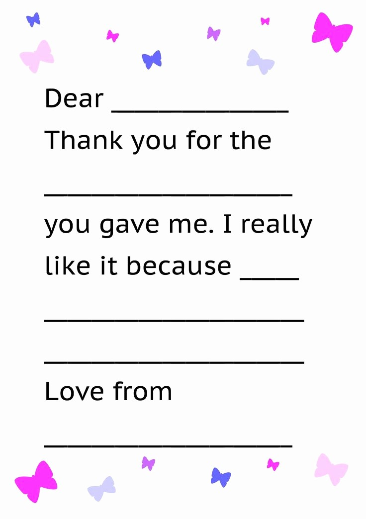 Thank You Note Card Template Unique Printable Thank You Card Template for Kids