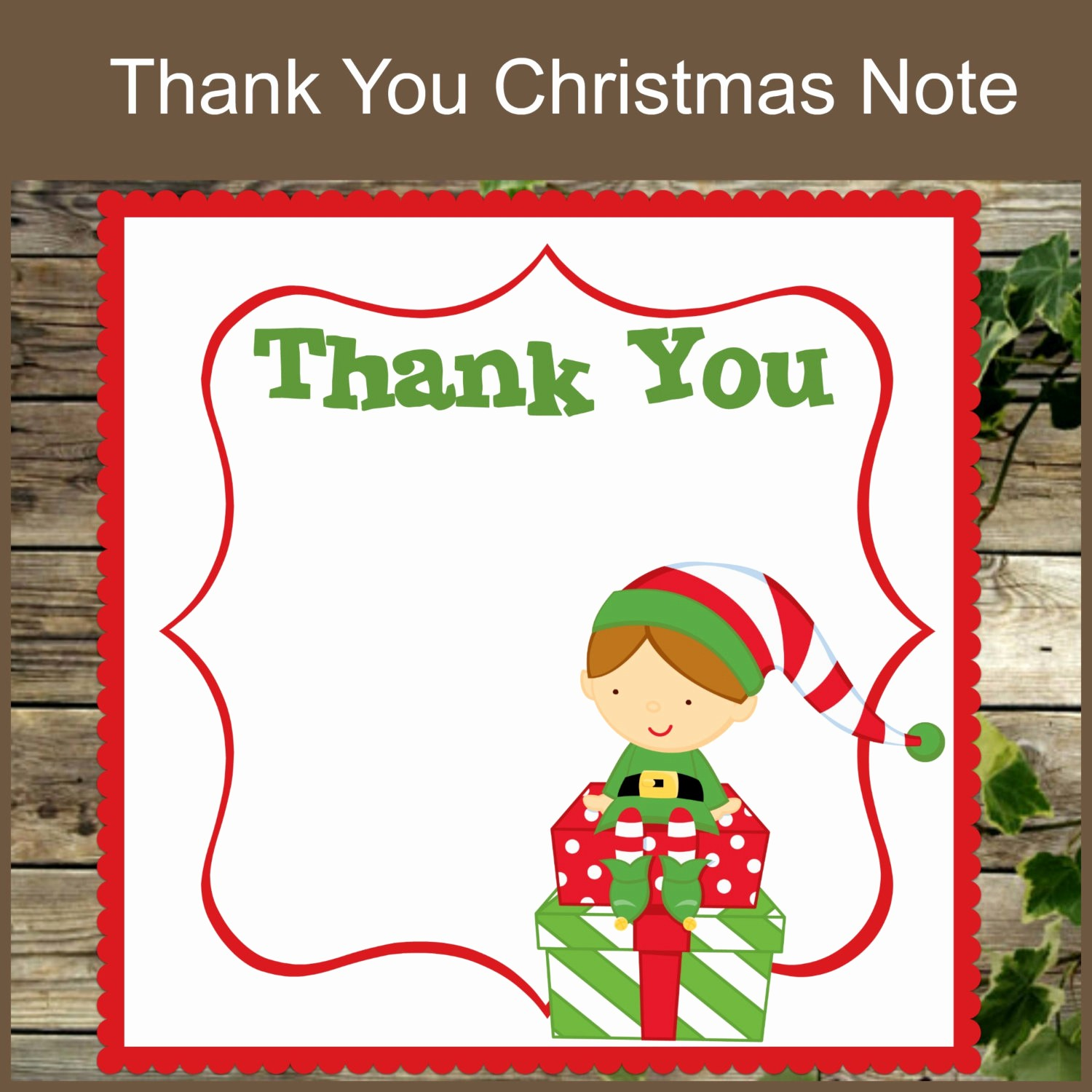 Thank You Note Cards Template Beautiful Christmas Thank You Note Printable Christmas Stationery