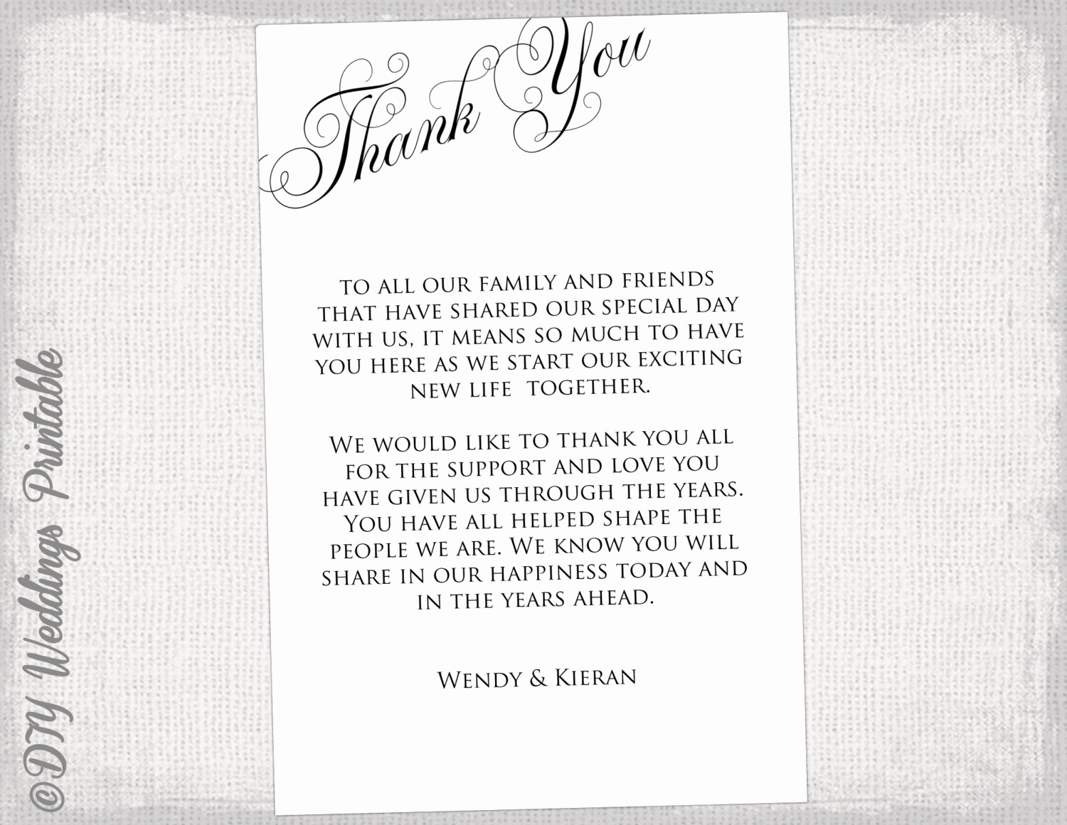 Thank You Note Cards Template Beautiful Printable Thank You Card Template Black & White Wedding Thank