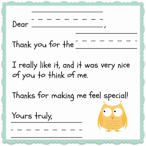 Thank You Note Cards Template Elegant Thank You Note Template for Kids Free