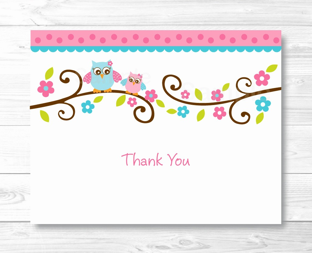 Thank You Note Cards Template Fresh Pink Owl Thank You Card Folded Card Template Owl Baby