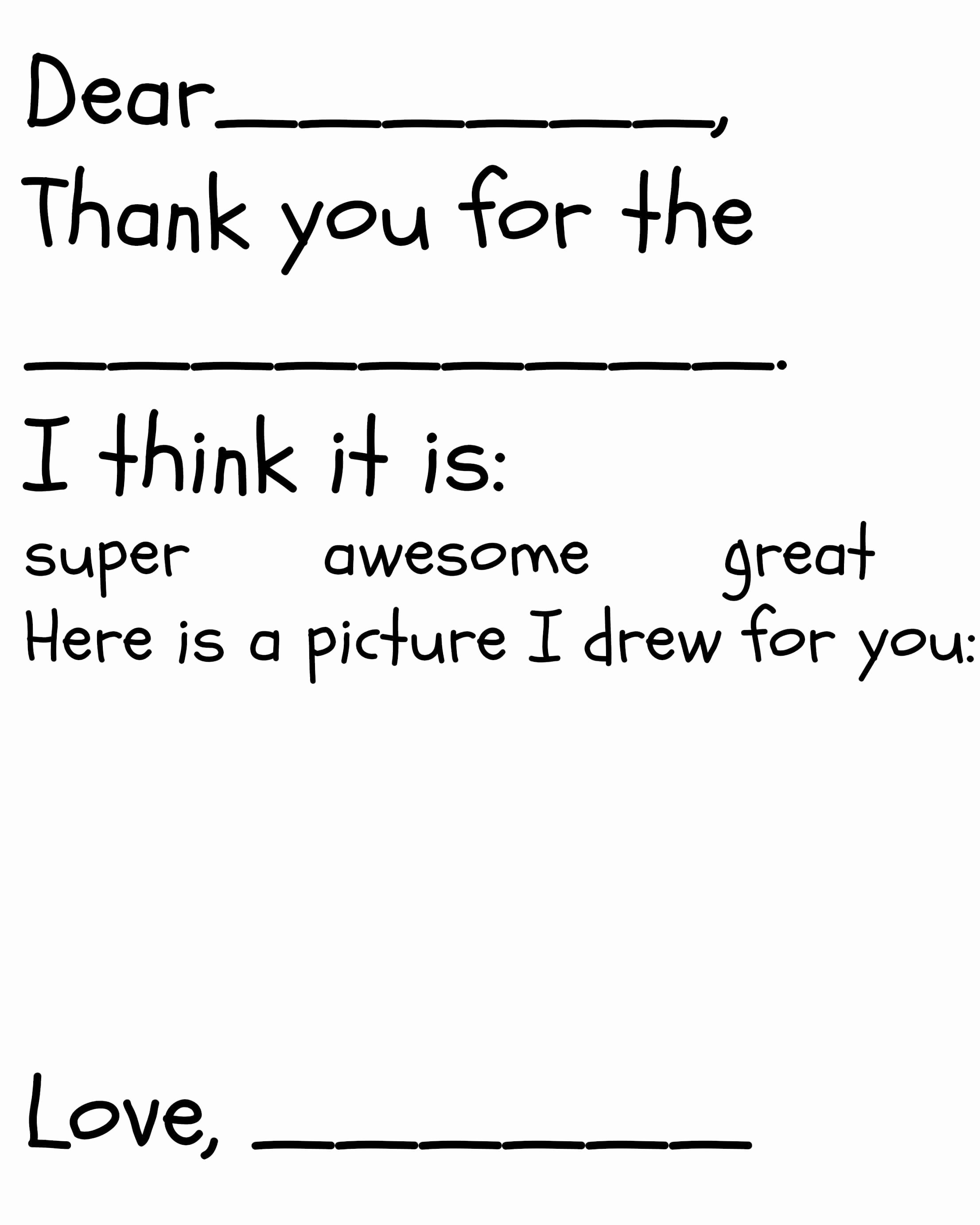 Thank You Note Cards Template Inspirational Kid S Thank You Card Printable
