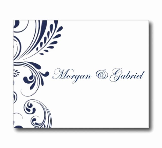Thank You Note Cards Template Lovely Wedding Thank You Card Template Navy Wedding Editable