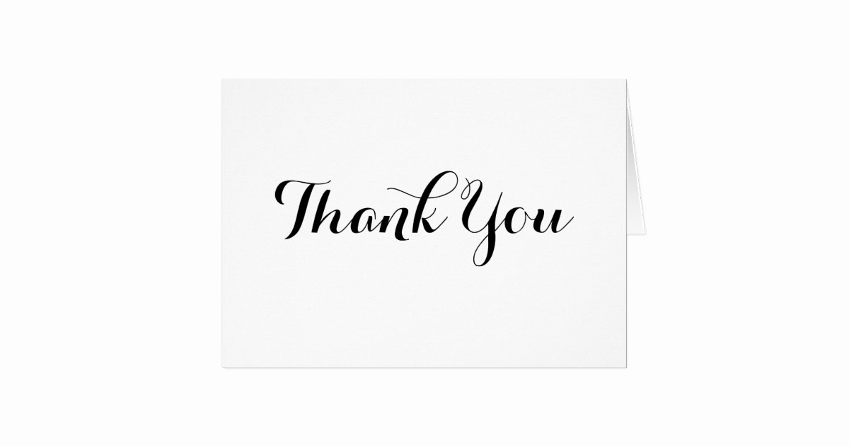 Thank You Note Cards Template Unique Black Calligraphy Thank You Note Card Template