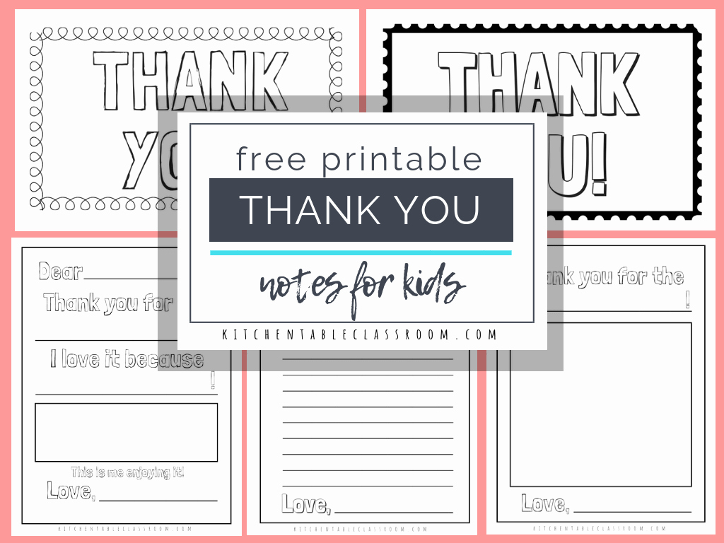 Thank You Note Cards Template Unique Printable Thank You Cards for Kids the Kitchen Table