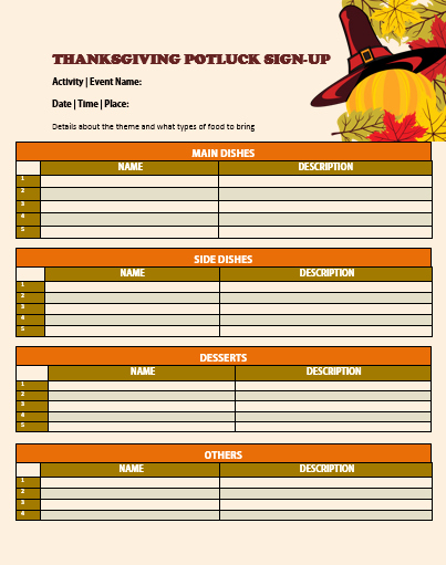 Thanksgiving Sign Up Sheet Printable Awesome 12 Thanksgiving Potluck Signup Sheets with Thankgiving