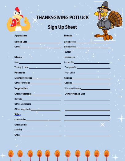 Thanksgiving Sign Up Sheet Printable Beautiful 12 Thanksgiving Potluck Signup Sheets with Thankgiving