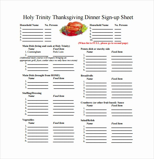 Thanksgiving Sign Up Sheet Printable Beautiful 23 Sample Sign Up Sheet Templates – Pdf Word Pages
