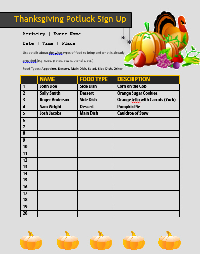 Thanksgiving Sign Up Sheet Printable Best Of 12 Thanksgiving Potluck Signup Sheets with Thankgiving