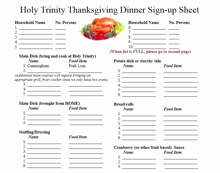 Thanksgiving Sign Up Sheet Printable Elegant Potluck Sign Up Sheet Template Free Christmas Word