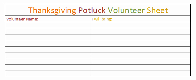 Thanksgiving Sign Up Sheet Printable Inspirational Thanksgiving Dinner Sign Up Sheet Template – Festival