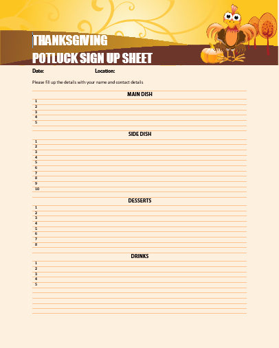 Thanksgiving Sign Up Sheet Printable Inspirational Thanksgiving Potluck Sign Up Sheet Printable to