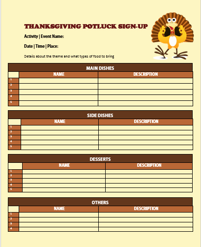 Thanksgiving Sign Up Sheet Printable Lovely 12 Thanksgiving Potluck Signup Sheets with Thankgiving