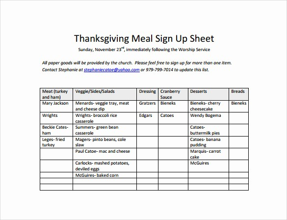 Thanksgiving Sign Up Sheet Printable Lovely 23 Sample Sign Up Sheet Templates – Pdf Word Pages
