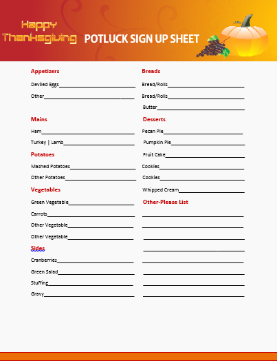 Thanksgiving Sign Up Sheet Printable Lovely Potluck Signup Sheet Template and Potluck Signup Sheet
