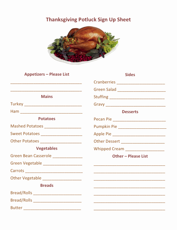 Thanksgiving Sign Up Sheet Printable Lovely Thanksgiving Potluck Sign Up Printable