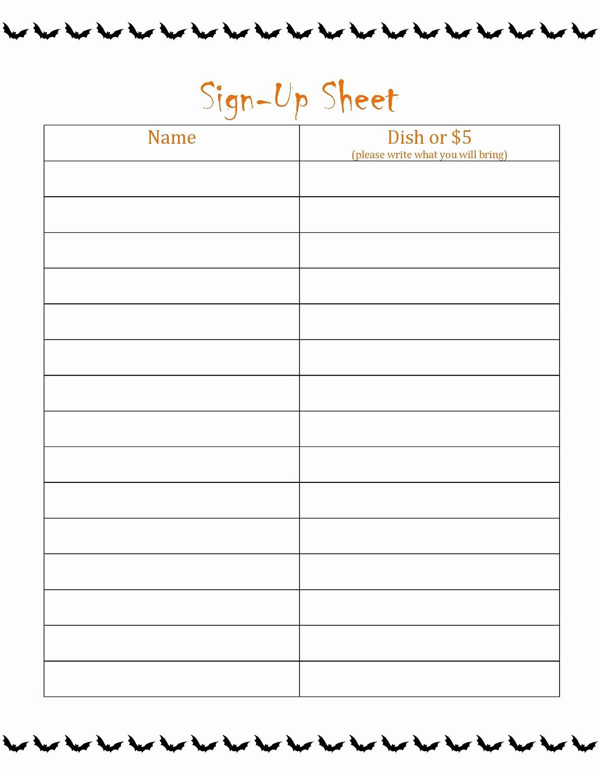 Thanksgiving Sign Up Sheet Printable Luxury Thanksgiving Potluck Sign Up Sheet Printable Awesome Free