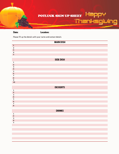 Thanksgiving Sign Up Sheet Printable Unique Thanksgiving Potluck Sign Up Sheet Printable to