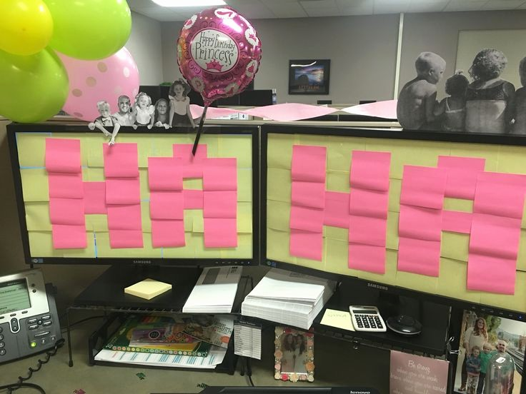 The Office Happy Birthday Sign Unique Work Decoration Birthday Cubicle Balloon Sticky Note