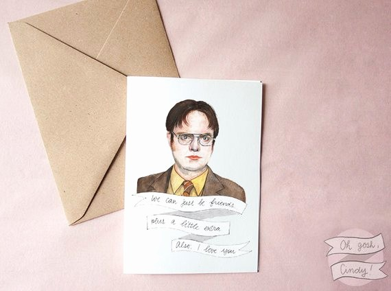 The Office Valentines Day Card Inspirational Dwight Schrute Greeting Card Watercolor the Fice by