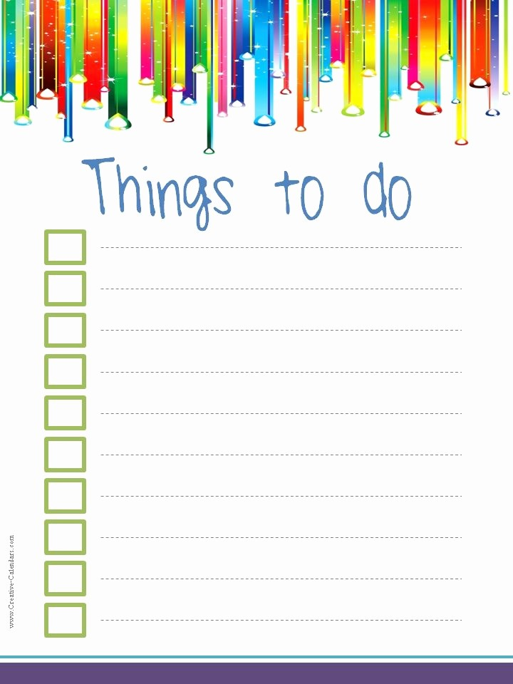Things to Do Checklist Template Unique to Do List Template