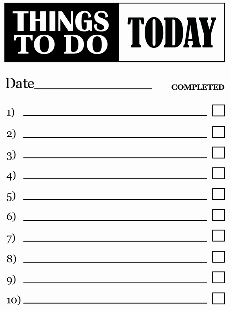 Things to Do Checklist Template Unique to Do Print Out to Do List