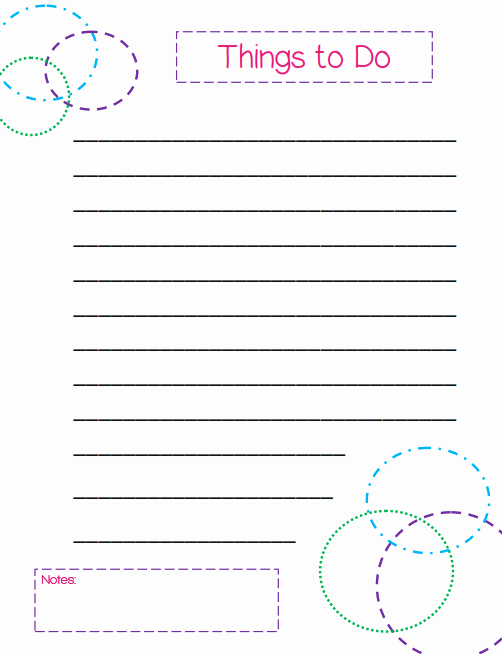 Things to Do List Printable Beautiful Things to Do List A Colorful Circles themed Template