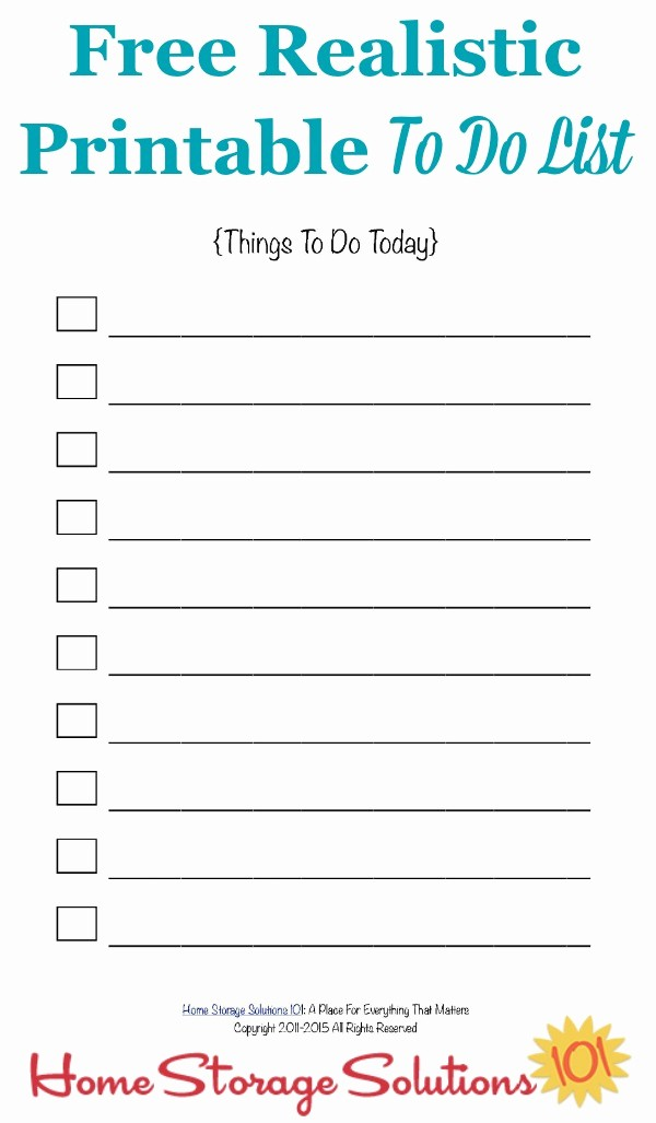 Things to Do List Printable Inspirational Free Realistic Printable to Do List