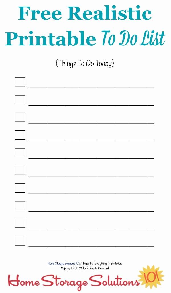 Things to Do List Printable Inspirational Free Realistic Printable to Do List