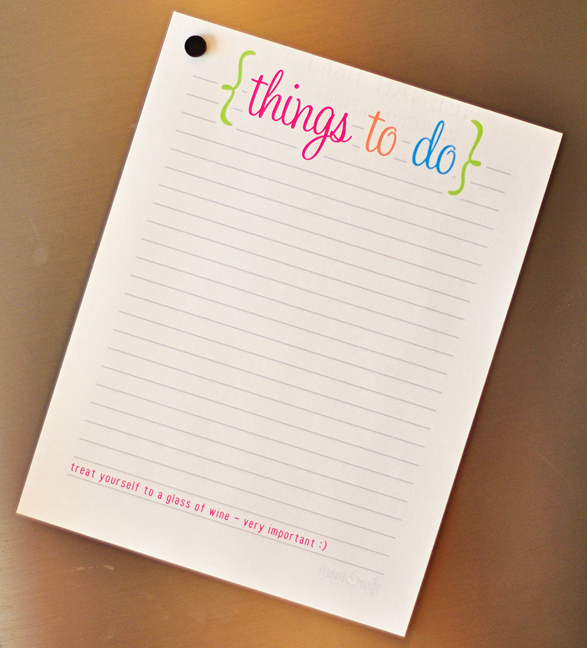 Things to Do List Printable Inspirational Printable to Do List Mom & Wife