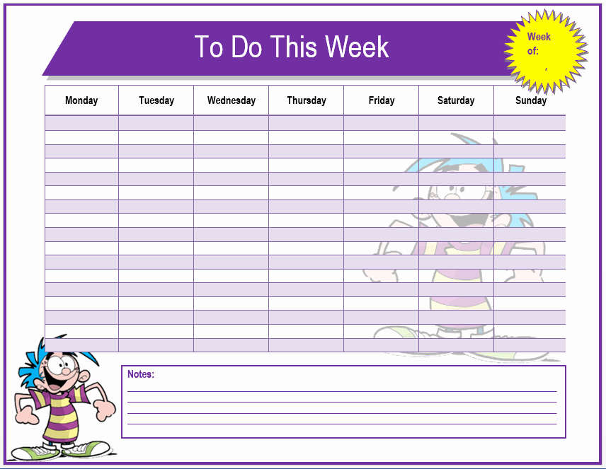Things to Do Template Word Awesome Weekly to Do List Template Word