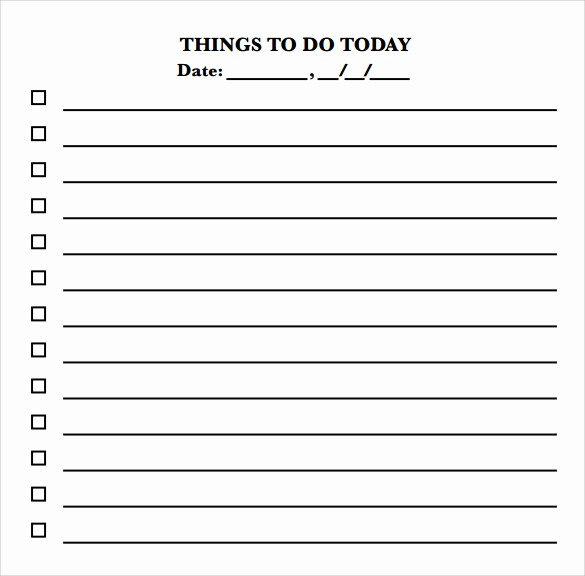 Things to Do Template Word Fresh 10 to Do Checklist Samples