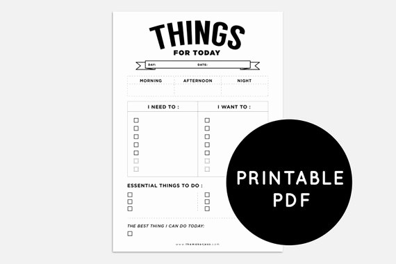 Things to Do today List New Items Similar to Printable Pdf Daily Planner to Do