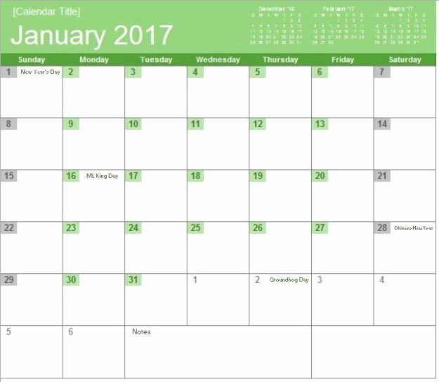 Three Month Calendar Template Excel Fresh 2017 Monthly Calendar
